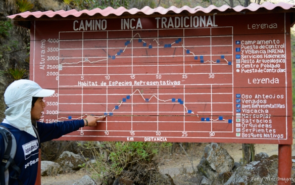 Apus Peru guide Arturo Mansilla points out the highs and lows of the Inca Trail. Photo courtesy of Patty Hinz.