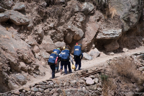 Heading out on the Inca Trail, a group of Apus Peru Porters. Photo courtesy of Patty Hinz.