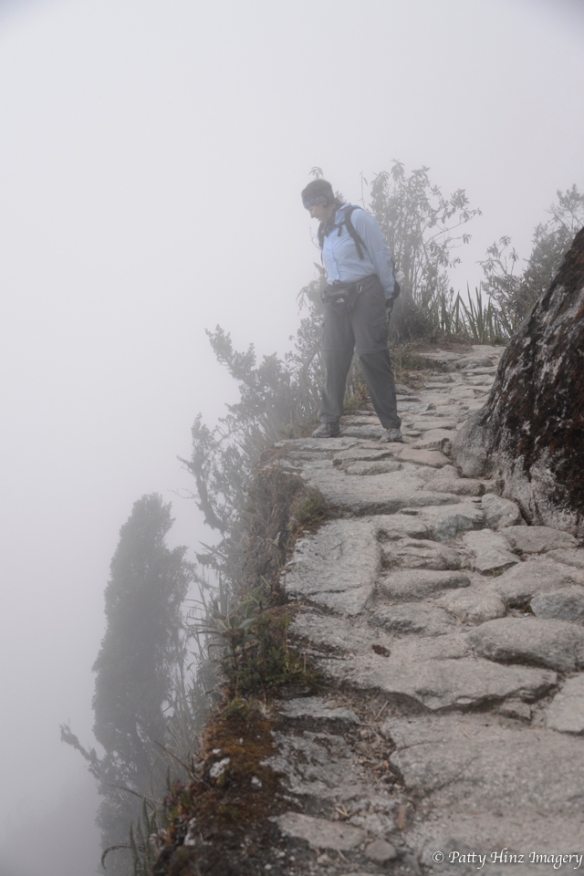 There are some drops on the Inca Trail! Photo courtesy of Patty Hinz.
