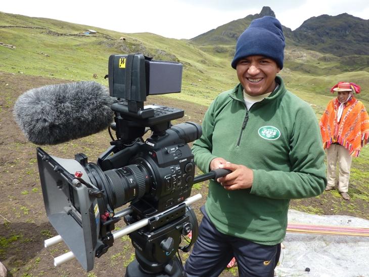 """Apus Peru guide Urbano Huayna """"on location"""".  Photo courtesy Sarah Confer."""