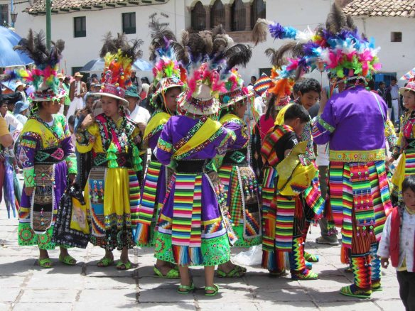 A colourfully dressed comparsa.