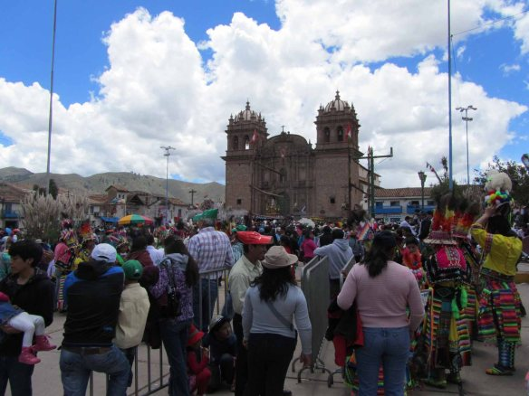 The Plaza of San Sebastian, full of festival goers and worshippers.
