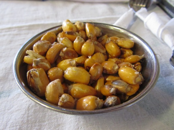 Canchitas - deep fried and salted maize, a delicious start to any meal.