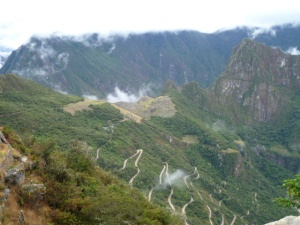 View from Inti Punku, arriving at Machu Picchu in the afternoon, on the Short Inca Trail.