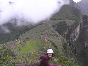 View from Huchuy Picchu, with the author Ariana Svenson in 2005.