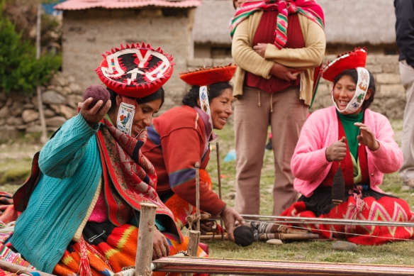 Women of Rumira Sondormayo at work as part of a Threads of Peru weaving capacitation workshop. Photo: Isaiah Brookshire.