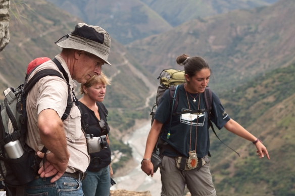 Mayra Callo pointing out points of interest on the Inca Jungle trek. Photo: Barry van Eyk.