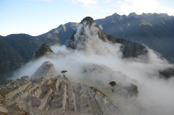 Machu Picchu at first light as the clouds clear
