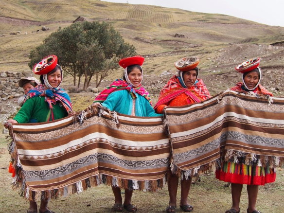 The women of Chaullacocha displaying some of their wares