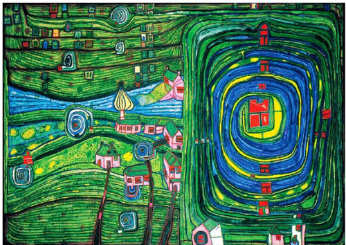 Austrian artist Friedensreich Hundertwasser (1928-2000) used bright colours and organic forms to express a reconciliation of humans with nature, notions that echo this year's World Food Day theme. Image courtesy of the Hundertwasser Foundation.