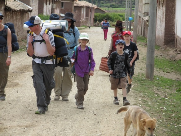 Family trekking in the Andes.