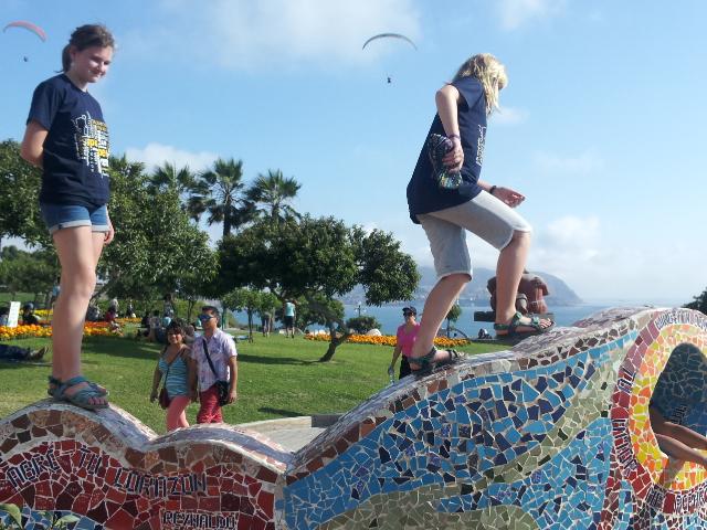 Tara and Tanaya soaking up the Lima sunshine