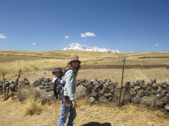 Mumma trekking in the Andes with Ergo Baby Carrier. Trekking with Toddlers, Trekking in Peru,. Trekking with Littles.