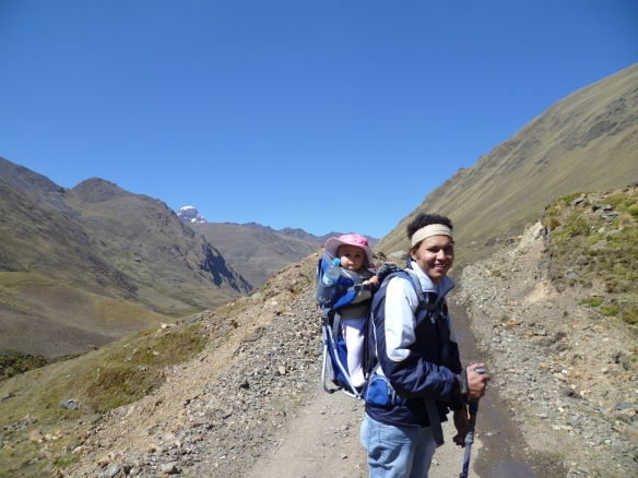 Dad and Bub in the Andes. Trekking with Toddlers, Trekking in Peru, Trekking with Littles.