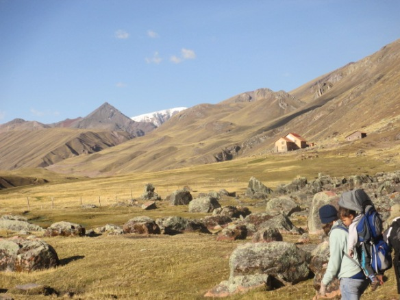 Deuter 3 sun protection, Mum trekking in the Ausangate Region of Peru Trekking with Toddlers, Trekking in Peru,Trekking with Littles.