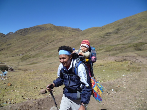 Dad trekking with daughter in the Andes, Trekking with Toddlers, Trekking in Peru,. Trekking with Littles.