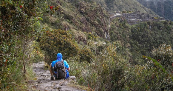 (above) Some of the flora you'll pass on the trail; (below) Catching a glimpse of more breathtaking Incan ruins